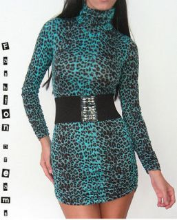 TEAL LEOPARD ANIMAL PRINT LONG SLEEVE TURTLENECK RUCHED STRETCH MINI