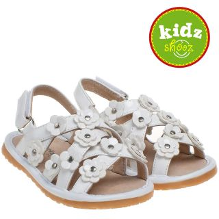Leather Squeaky Shoes Sandals   Patent White   by Little Blue Lamb