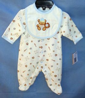 LITTLE ME 100% Cotton Ivory Footie w/Baseball Teddy Bear BOY SIZE