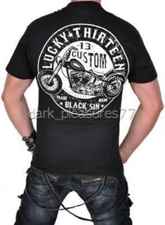 LUCKY 13 BLACK SIN T SHIRT SKULL GOTHIC TATTOO ROCKABILLY BIKE TEE