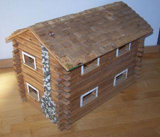 Antique Vintage DollHouse Log Cabin Wood Handmade ART Salesman Sample