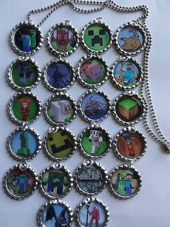 20 minecraft bottle cap necklaces ball chain necklaces great party