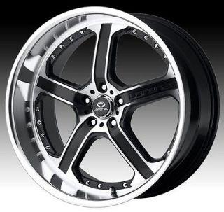 20 inch staggered lorenzo WL021 black wheels rims 5x4.5 5x114.3