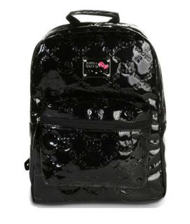 NWT Loungefly Hello Kitty Black Patent Embossed Backpack by Sanrio