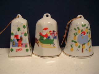 Ceramic Bell Christmas Ornaments Lillian Vernon White Partridge Santa