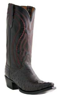 LUCCHESE M1609 FULL QUILL OSTRICH MENS BLACK COWBOY BOOTS D (MEDIUM