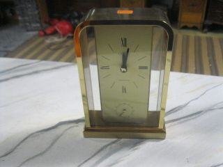 Unique Gold Tone Linden Wesminster 7 3/8 Inch Shelf or Mantle Clock