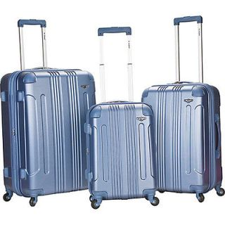 rockland luggage sonic 3 piece hardside spinner set expedited shipping