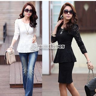 2012 New Sexy Womens Lace Top Long Sleeve Slim Fit Swing Blouse With