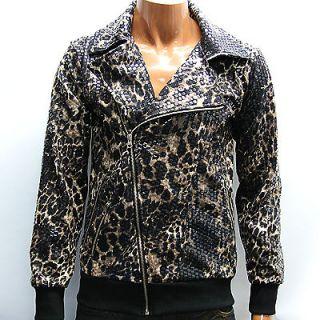 Brown Shiny Leopard Print Punk Jacket M / Vintage Motorcycle Jacket