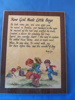 how god made little boys 9x7 in wooden plaque returns
