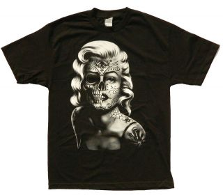 Marilyn Monroe T shirt Tattoo Sugar Skull Grafitti Adult S 3XL