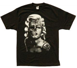 Marilyn Monroe T shirt Tattoo Sugar Skull Grafitti Adult S 3XL