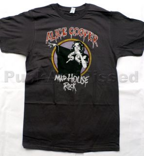 Alice Cooper   Mad House Rock   charcoal soft t shirt   Official