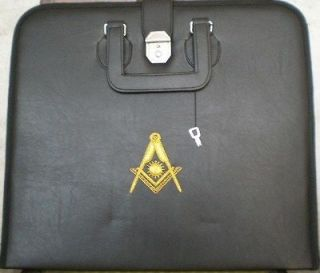 HAND EMBROIDED MASONIC CUSTOM, BLACK, P.M. APRON CASE GOLD