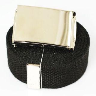 plain silver canvas web belt buckle