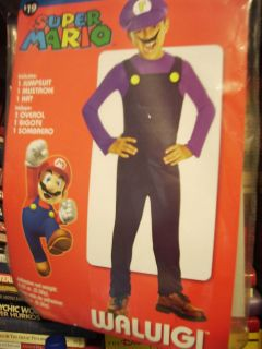 waluigi super mario brothers costume boy