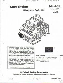 mcculloch kart engine mc 45d parts manual free shipping time