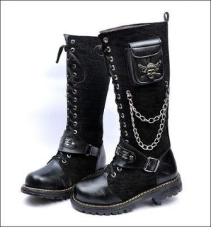 punk rock mens black goth punk rock band buckle boot o7