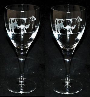 * Boxed Pair WINE GLASS with engraved FRIESIAN / HOLSTEIN *COW GIFT