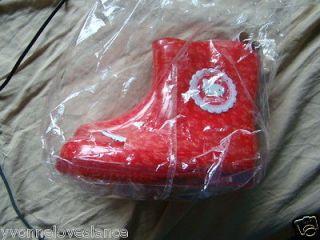 Sanrio Hello Kitty cat wellington rain boots red shoes childrens kids