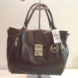 MICHAEL MICHAEL KORS Jenna Large Leather Tote Bag Green Handbag Purse