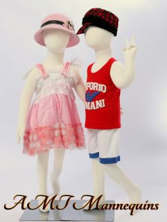 Two same child Mannequins flexiable dolls Christmas display 2 dress