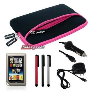 Case Pouch Bag+Car+Wall Home Charger Accessory for Nook Tablet/Color