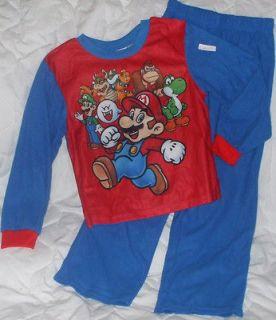 NEW Sz 6 7 Super Mario Brothers Pajamas Shirt Pants Boys Yoshi Red