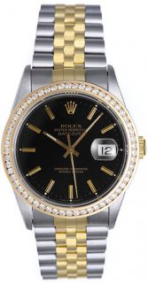 rolex datejust men s 2 tone watch 16233 with custom