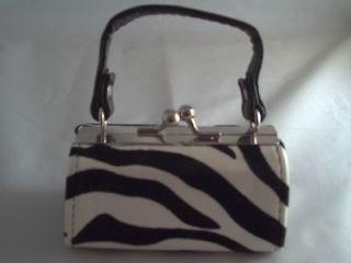 Mini Purse Coin Lipstick Zebra Print Black/White Party Favor Stocking