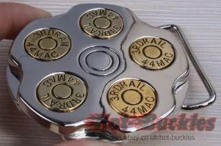 Mens Womens Gun Revoler Spinner Bullet Barrel Metal Belt Buckle R04T