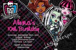 Monster High Birthday Invitation U Print or Printed Invitation / 11