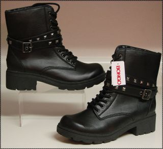 women black military biker style boots
