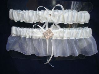 White Satin Diamond Rhinestone Wedding Garters Keep One / Toss One