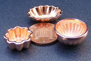 Scale 3 Copper Jelly Moulds Dolls House Miniature Kitchen Accessories