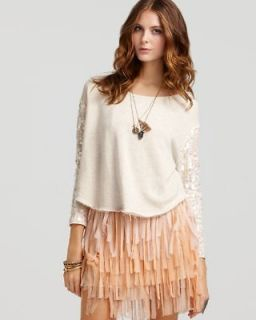 Free People NEW Ivory Sequined Long Sleeve Cropped Pullover Top Shirt
