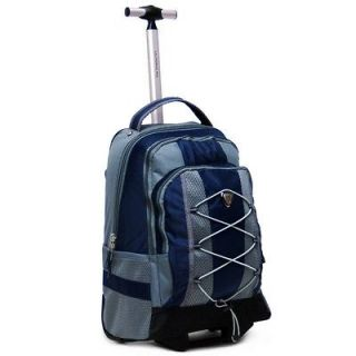 18 Navy Rolling Backpack Wheeled College Bookbag Travel Carry on Drop
