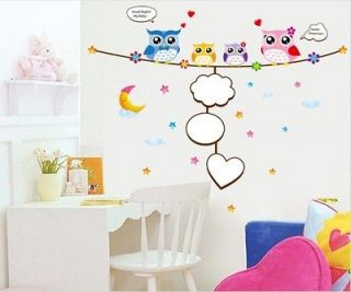 Baby love Cute Four Owls & Moon& Star Nursery Room Wall sticker