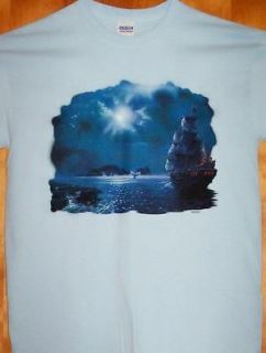SAILING SHIP IN THE MOON Light Blue T Shirt Sz XL Rocks & Whales
