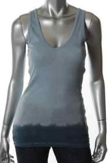 James Perse NEW Blue Supima Cotton Ribbed Dip Dye V Neck Tank Top 2
