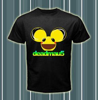 Dj Deadmau5 Yellow Head Design Logos Men Black T shirt tee Size S 2XL
