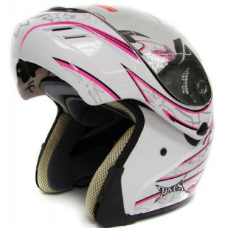 PINK BUTTERFLY MODULAR FLIP UP FULL FACE MOTORCYCLE HELMET DOT ~M