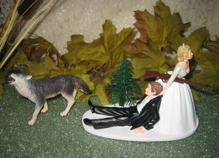 redneck humorous wedding wolf hunter hunting cake topper time left