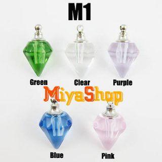 100p Name On Rice Grain Pendant Perfume Crystal Glass Necklace Vial M1