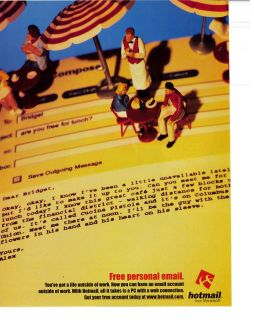 microsoft hotmail 1998 print ad time left $ 7 25