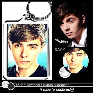 Nathan Sykes KEYCHAIN + BUTTON or MAGNET pin The Wanted key ring badge