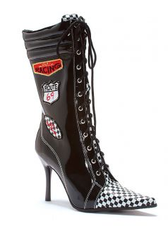 Black NASCAR Race Car Driver Halloween Costume Shoes Boots Womans