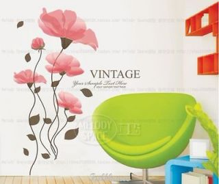 Removable COLOR 3D Flowers VINTAGE mural wall decor Wall Stickers