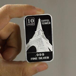 Newly listed 10 Grams .999 Fine Silver Art Bar / Eiffel Tower / SB034